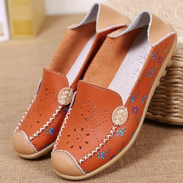 Floral Print Hollow Out Breathable Color Match Casual Slip On Flat Shoes - MagCloset