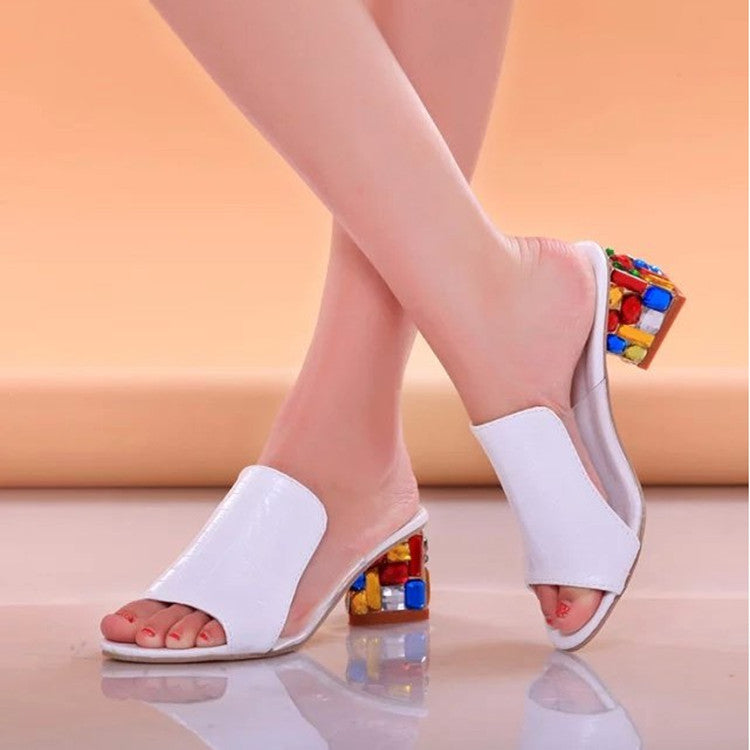 Sandals Women Crystal Slippers Fashion Casual High Heels Ladies Shoes