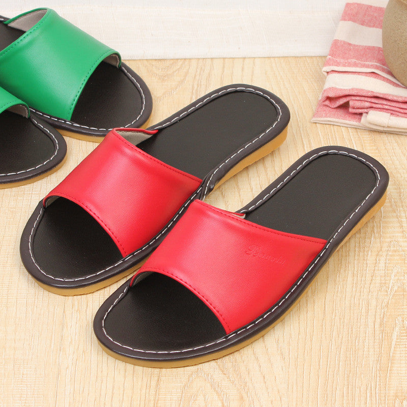 Home Leather Slippers Comfy Summer Sandals Oxford Sole