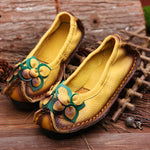 Retro Fashion Genuine Leather Flower Soft Sole Flats Loafer Shoes
