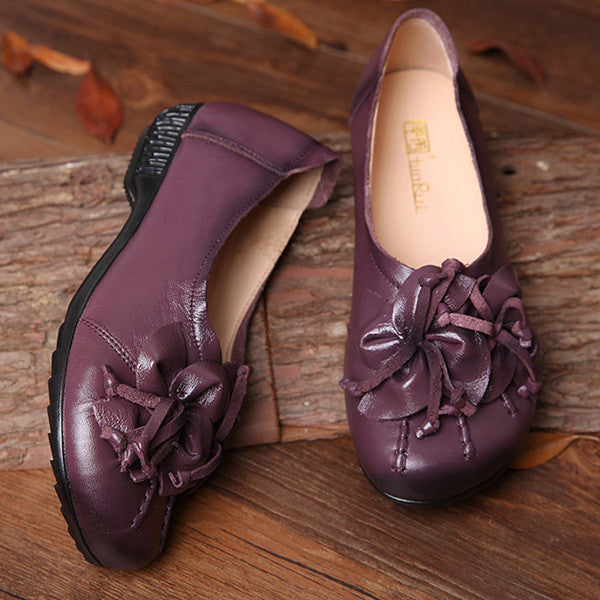 Genuine Leather Retro Flower Soft Sole National Style Flats Shoes - MagCloset