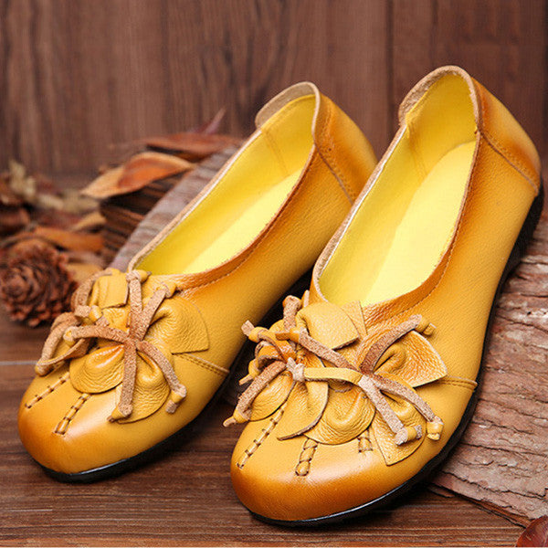 Genuine Leather Retro Flower Soft Sole National Style Flats Shoes