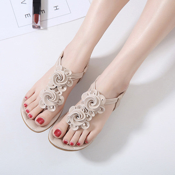 Summer Women Flower Bohemian Sandals Casual Cosy Leather Flat Shoes