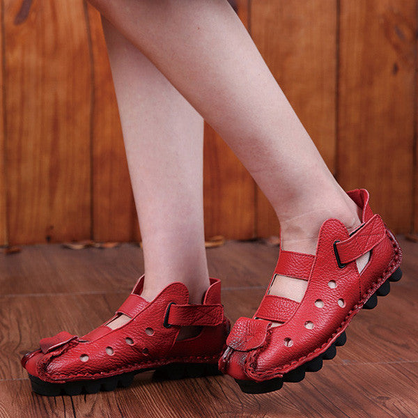 Retro Handmade Hollow Out Soft Sole Cosy Flats Sandals