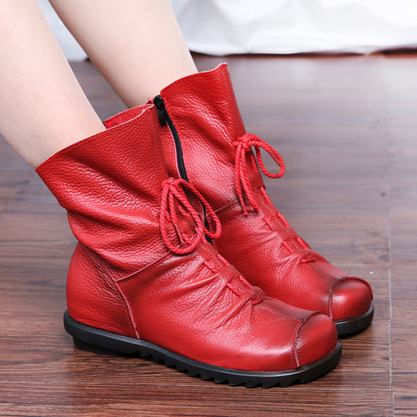 Genuine Leather Hidden Height Increasing shoes Mid-Calf Boots - MagCloset