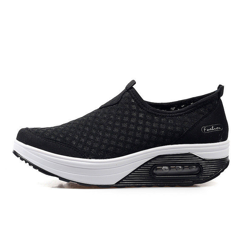 CLEARANCE-Mesh Breathable Slip On Athletic Platform Casual Shake Rocker Bottom Shoes
