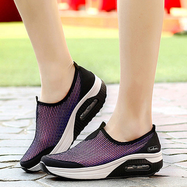 Breathable Mesh Casual Sport Slip On Platform Rocker Bottom Shoes - MagCloset