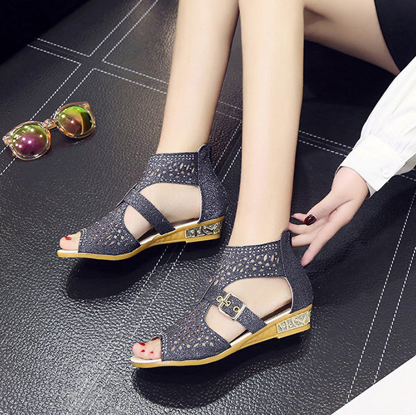 Peep Toe Rhinestone Hollow Out Wedge Sandals Gladiator Shoes