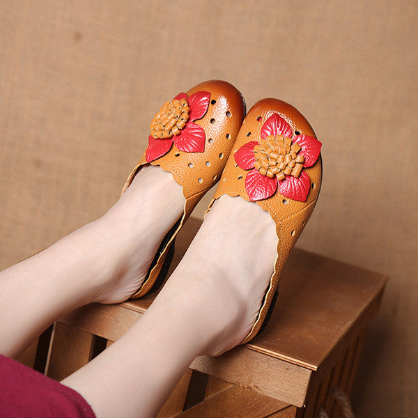 Summer Fashion Genuine Leather Retro Flower Causal Flat Sandals Slippers