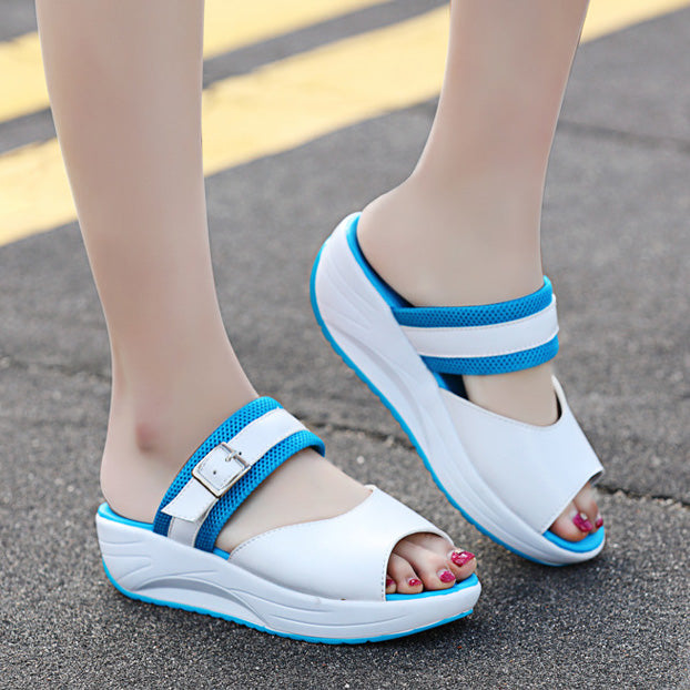 Buckle Peep Toe Rocker Sole Shake Casual Sandals Slippers - MagCloset