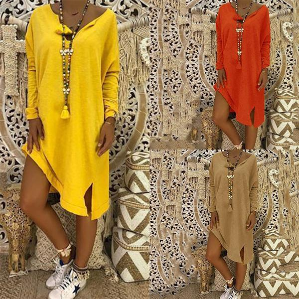 Casual Loose Solid Color Linen Dress