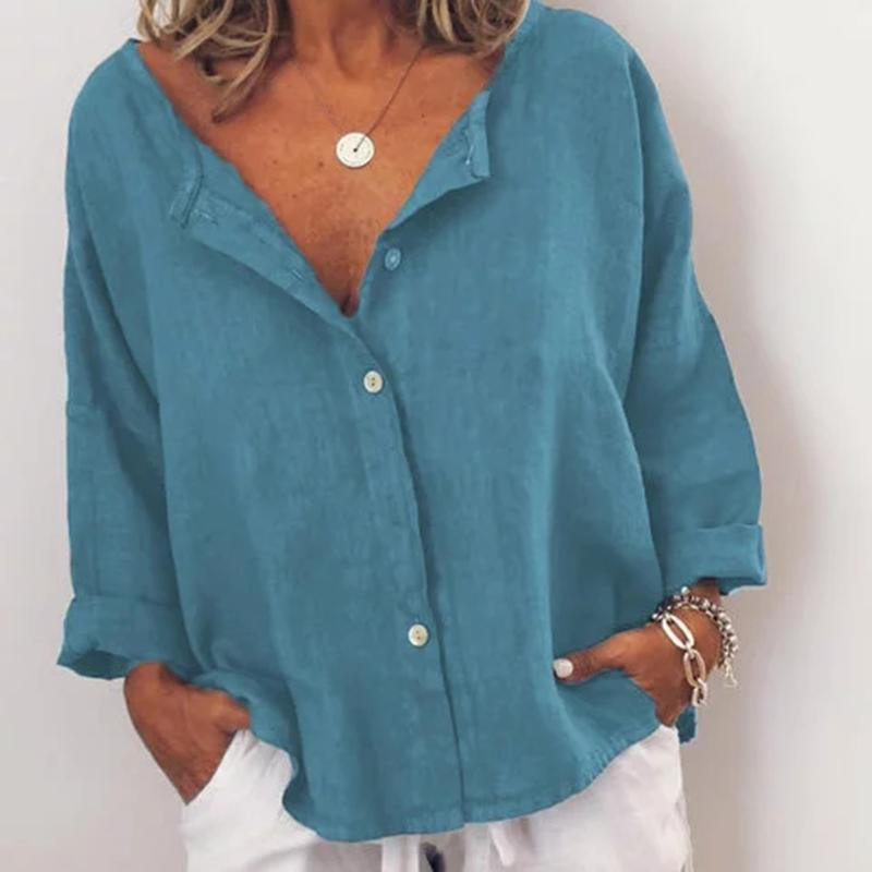 Plus Size Casual Solid V Neck Buttoned Long Sleeve Blouse