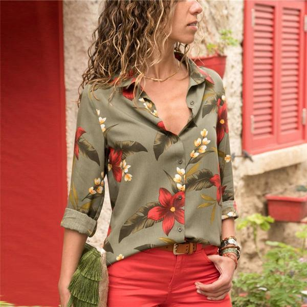 Long Sleeve Floral Casual Collar Ladies Blouses