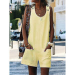 New Solid Color Button Strap Jumpsuit