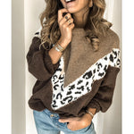 Solid Color Patchwork Leopard Print Sweater