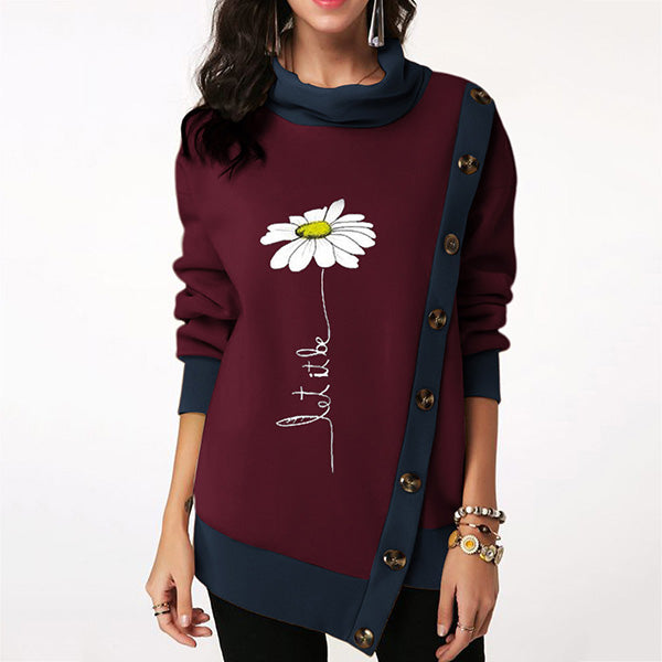 Women's Fashion Buttoned Printed Asymmetrical Casual Sweater