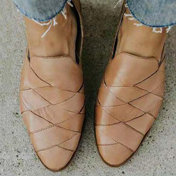 Casual Weaving Point Toe Flat Shoes