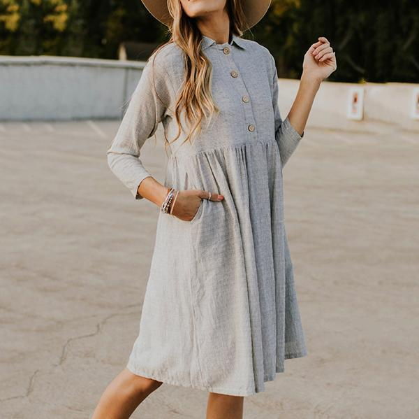 Sweet Casual Cotton Lapel Neck Button Dresses