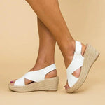 Peep Toe Magic Tape Crossed Wedges Sandals