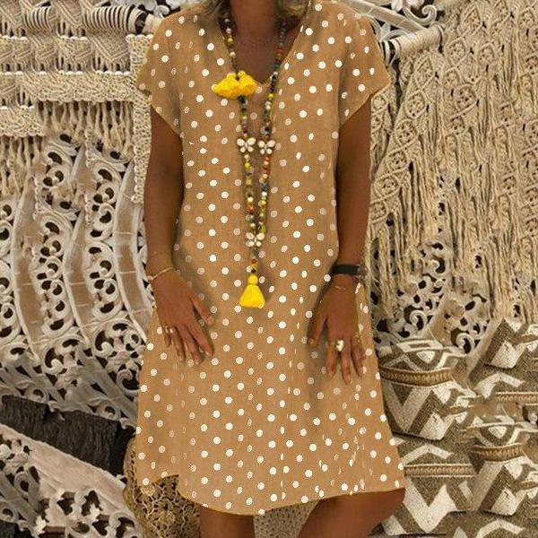 Plus Size Polka Dot Printed Loose Dresses