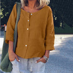 Casual Linen Solid Color Round Neck Long Sleeve Shirt