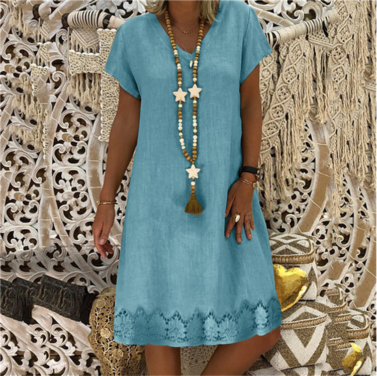 Solid Color Short Sleeve V-neck Base Dress