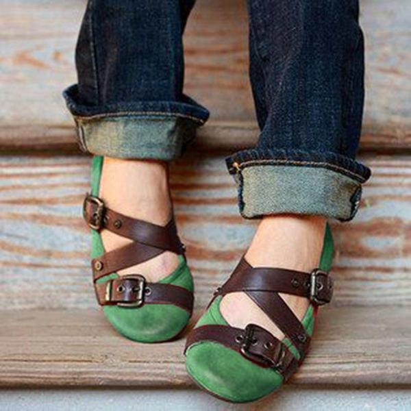 Buckled Strap Casual Flats Shoes