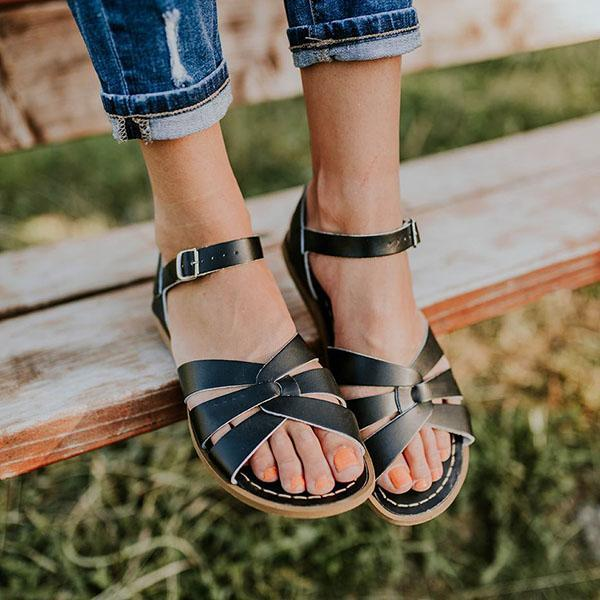 Fashion Cross Band Buckle Flat Sandals