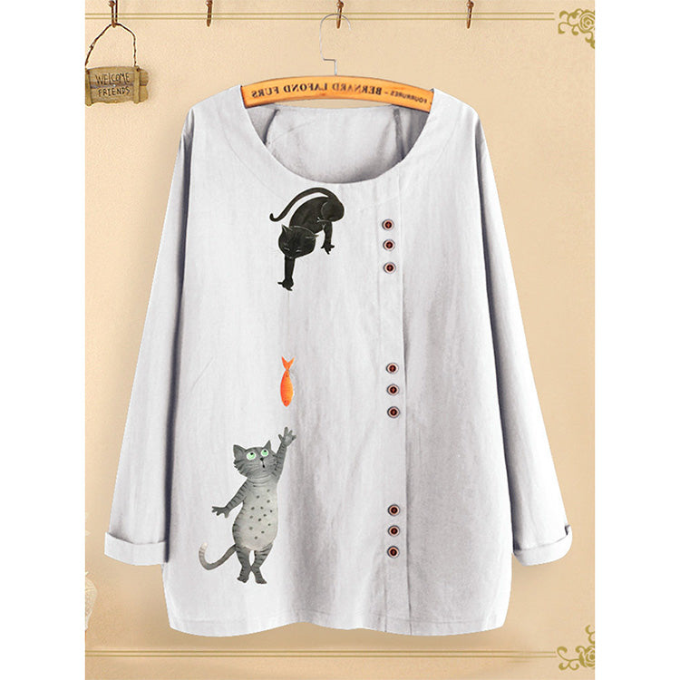 Buttoned Retro Cotton Linen Cartoon Printed Loose Long-Sleeved Shirt