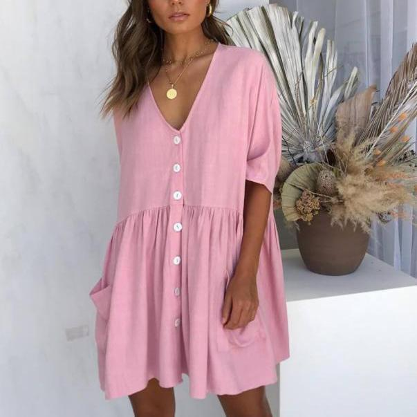 Casual V-Neck Pocket Button Down Short Dresses