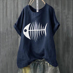 Casual Fish Bone Printed T-Shirts