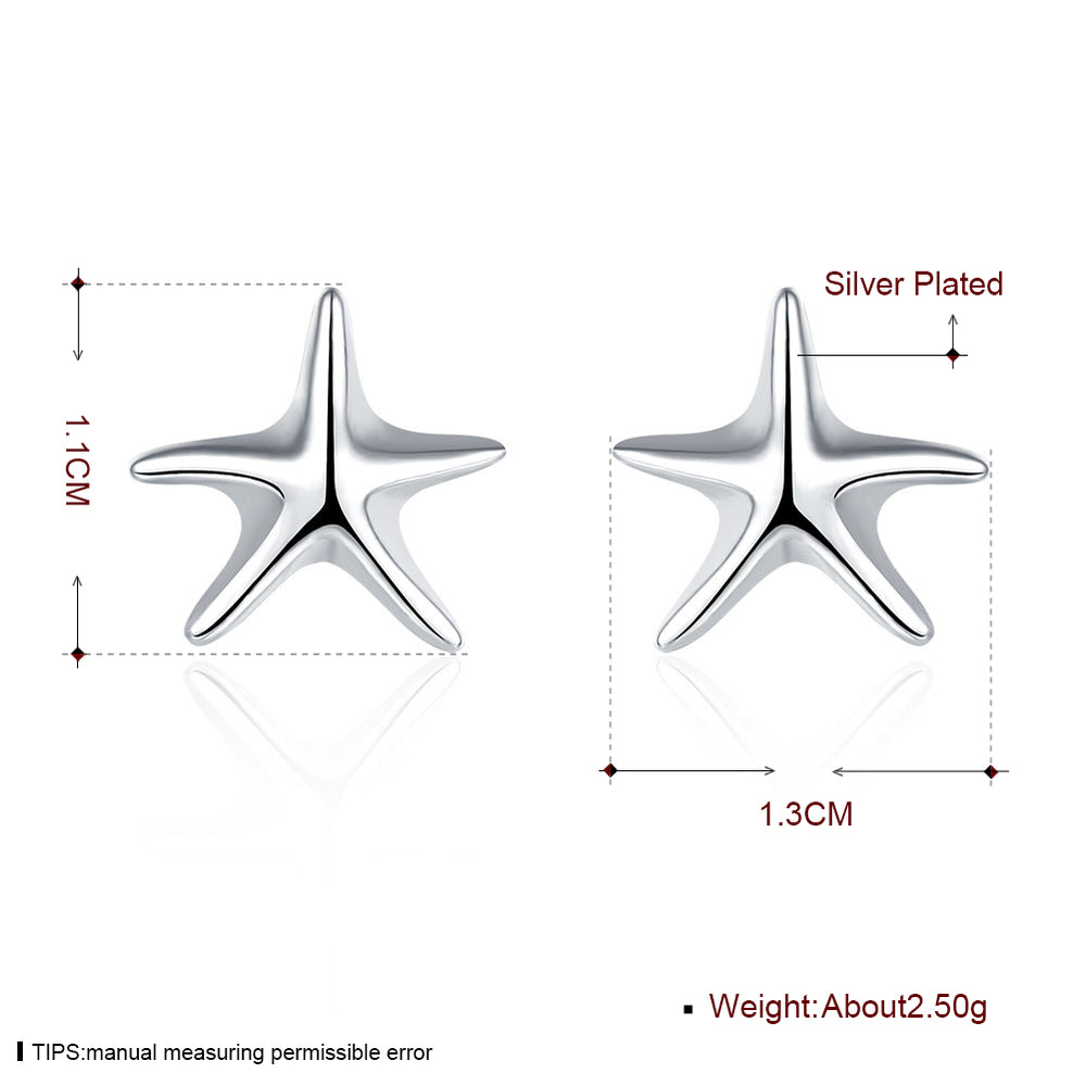 Starfish Ear Studs Silver Plated Earrings