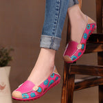 Women Floral Leather Loafers Moccasins Flats Soft Flower Flats