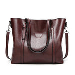 Simple Fashion Oil Wax Leather Crossbody Shoulder Handbag Tote Bag