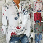 Floral Print V-Neck Blouse Long Sleeve Shirts for Women