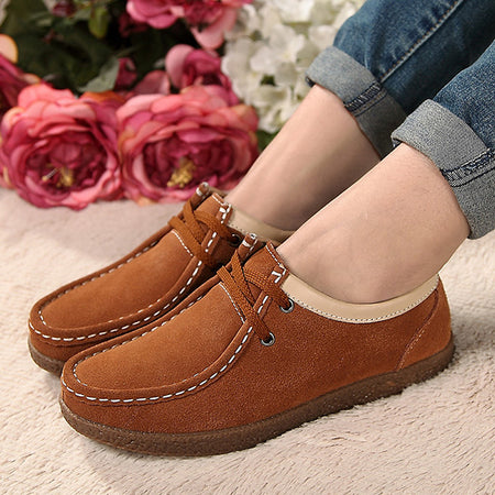 US4-11 Womens Leather Casual Flat Soft Sole Lace Up Oxford Shoes