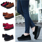 Slip On Cowhide Leather Non-Slip Tassels Leisure Platform Shoes