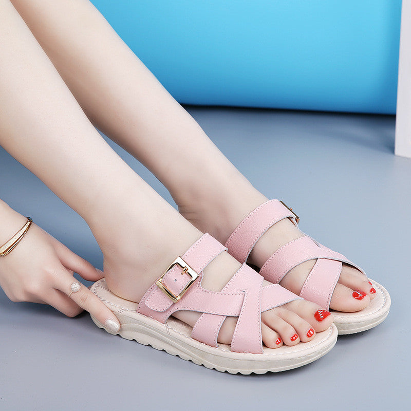 Summer Fashion Women Leather Peep Toe Platform Comfy Sandals Slippers