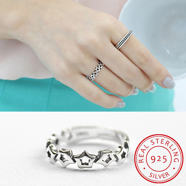 S925 Sterling Silver Hollow Star  Ring