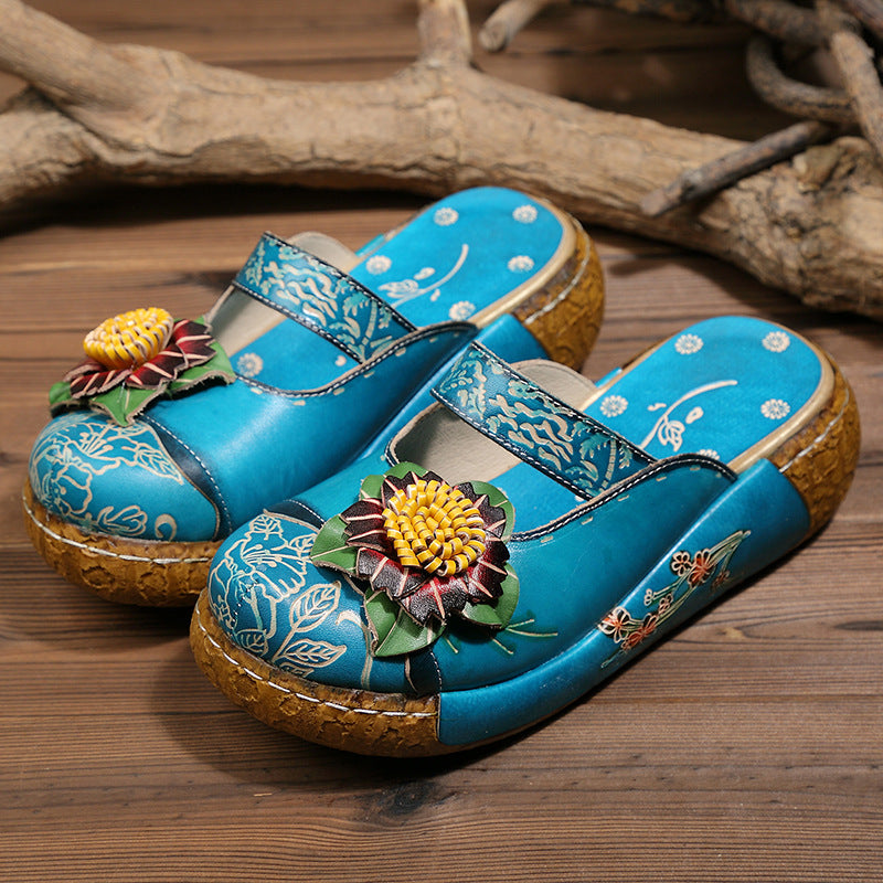 Ethnic Style Colorful Leather Slippers Vintage Shoes