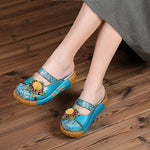 Ethnic Style Colorful Leather Slippers Vintage Shoes - MagCloset