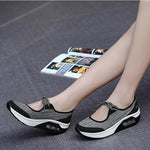 Breathable Mesh Casual Sport Lace Up Platform Rocker Bottom Shoes - MagCloset