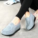 Slip On Breathable Cowhide Leather Casual Platform Shoes