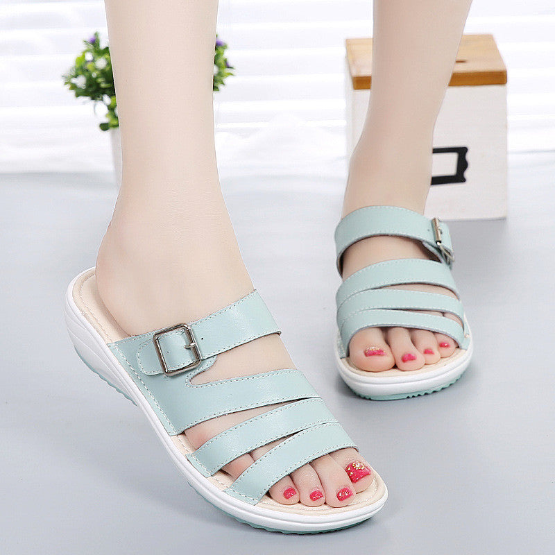 Summer Fashion Women Leather Peep Toe Platform Wedge Sandals Slippers