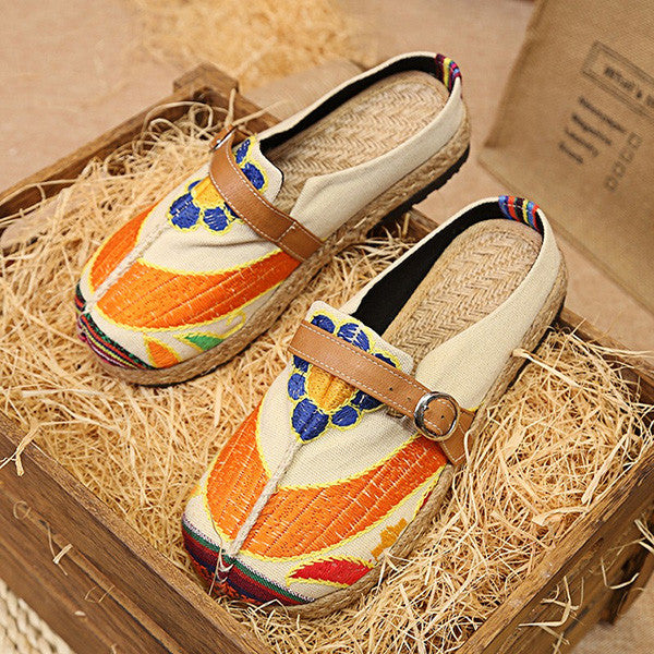 Retro Embroidered Sunflower Flats Shoes Slippers