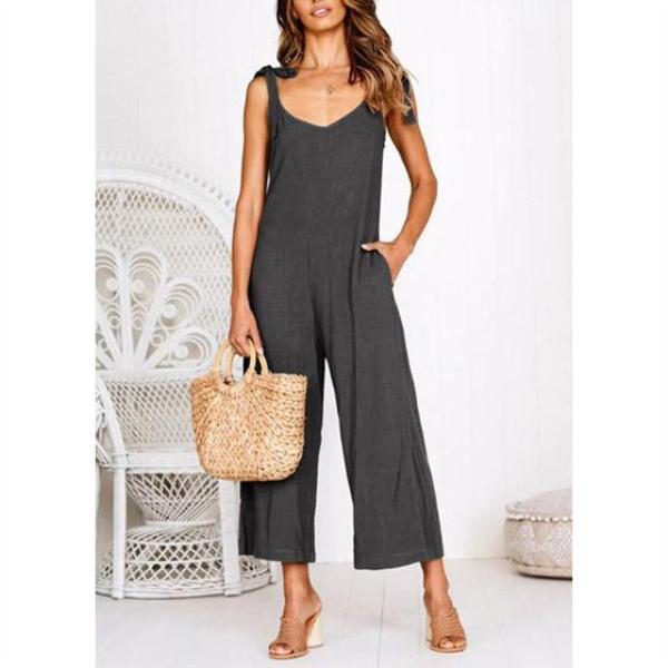 Sleeveless Sling V-Neck Tie Wide-Leg Pants Jumpsuits