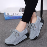 Leisure Breathable Hollow-Out Platform Lace Up Rocker Bottom Shoes
