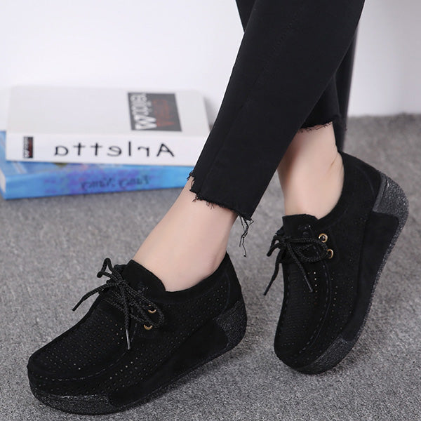 Leisure Breathable Hollow-Out Platform Lace Up Rocker Bottom Shoes - MagCloset