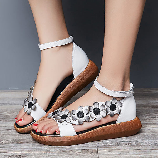Flower Hook Loop Wedge Sandals Platform Shoes - MagCloset