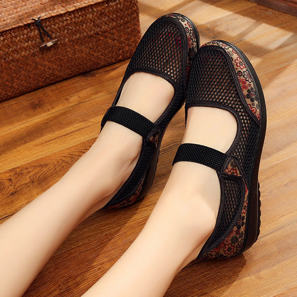 Casual Mesh Breathable Flower Printing Flat Shoes - MagCloset
